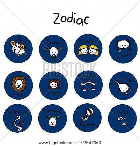 Love of zodiac cute cartoon on white background illustration