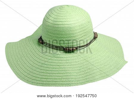 Woman  Hat Isolated On White Background .women's Beach Hat . Colorful Hat.green Hat
