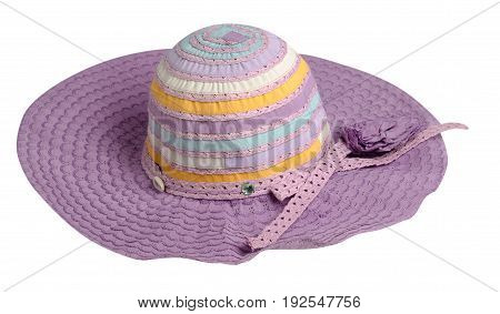 Woman  Hat Isolated On White Background .women's Beach Hat . Colorful Hat .purple Hat