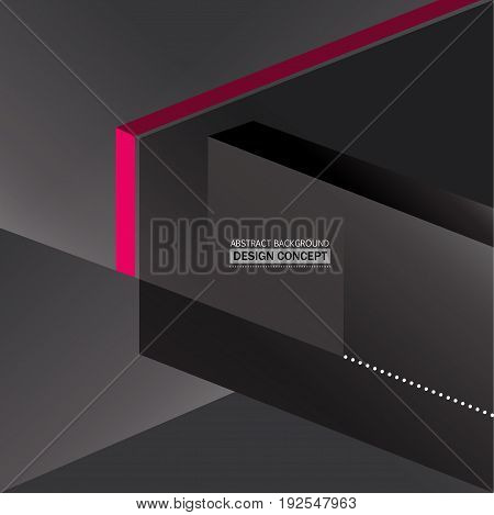 Abstract monochromatic gray boxes background with pink detail