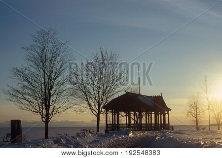 An Arbor near a frozen Lake Ontario, near Kingston, On, Canada in Februari