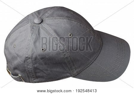 cap isolated on white background. cap with a visor. gray cap .