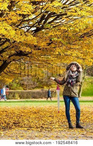 Relaxing outside concept. Woman walking in park with umbrella autumn bright weather.