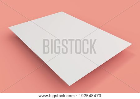 Blank White Flyer Mockup On Red Background