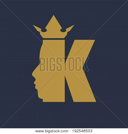 King logo. Royal luxury emblem. Face and crown icon. Business fantasy golden badge with K letter