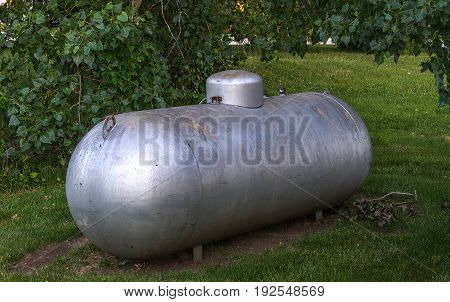 Propane gas container in a rural area