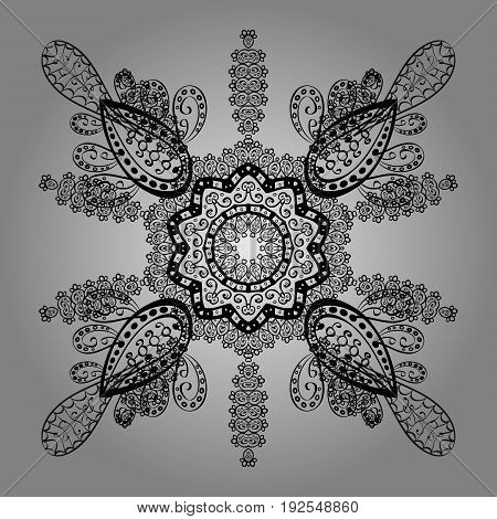 Dim ornate illustration for sketch. Vintage design element in Eastern style. Vector with floral ornament. Traditional arabic decor on gray background. Ornamental lace tracery.