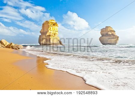 The Twelve Apostles from Gibson's Beach on the Great Ocean Road in Victoria, Australia