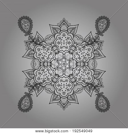 Symbol holiday New Year celebration vector dim pattern with dim elements. Winter snow texture sketch. Dim snowflakes on gray background. Christmas black snowflake.