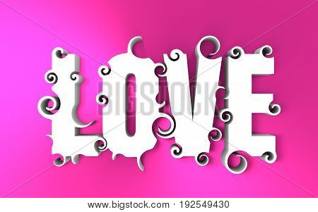 Lettering illustration with Love word. Typography poster with abstract ornament of curls. 3D rendering