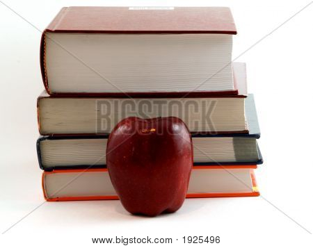 Apple In Front Of Books