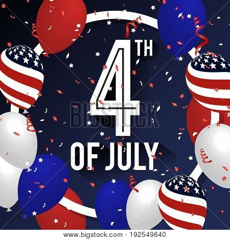 4TH of July Celebration Background Design with Balloon and Ribbons. American Independence Day Square Banner. Vector illustration