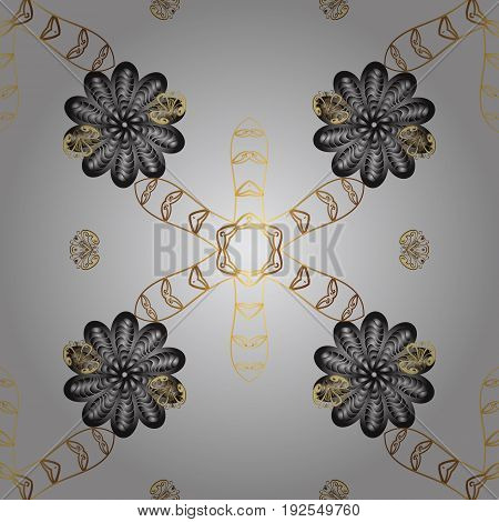 Eastern style element. Golden element on gray background. Vector line art seamless border for design template. Golden outline floral decor. Vector sketch for invitations cards certificate web page.