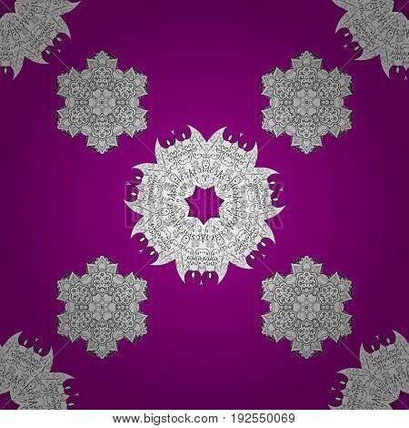Doodles element on magenta and pink background. Magenta and white floral ornament in baroque style. Damask repeating background. Antique repeatable sketch.
