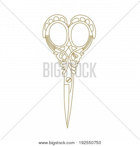 Scissors symbol, scissors hair, scissors label, scissors icon, scissors object, scissors sign, scissors work. Vector.