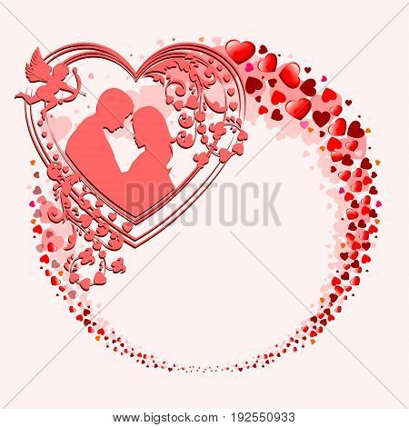 Red design from the silhouettes of the heart in the form of a circle, the wreath with an imprint of two lovers, a boy and a girl