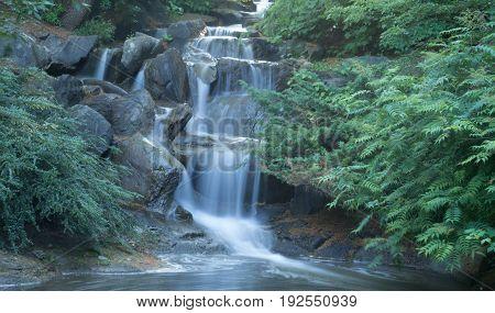 Long exposure photograph of waterfall, VanDusen Botanical Gardens