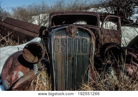 Abandoned Vehicles in the countryside in Ponoka, Alberta, Canada