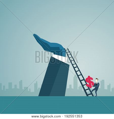 Businessman Climb Up Ladder Stairs Hold Dollar Sign, Business Man Finance Success Concept Flat Vector Illustration