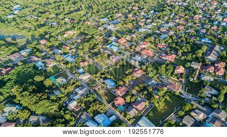aerial view of houses in village land use planning concept