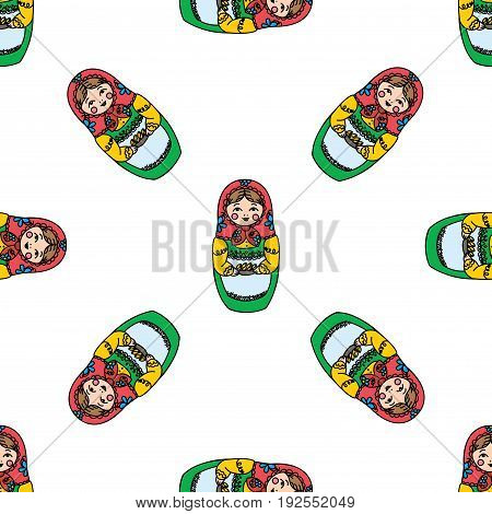 Seamless texture with funny Russian dolls - Matryoshka. On white background.Vector illustration