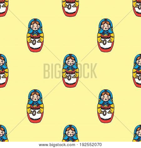 Seamless texture with funny Russian dolls - Matryoshka.Vector illustration
