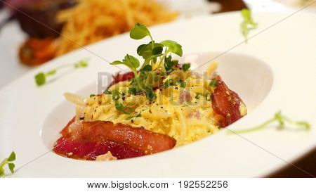 Italian food carbonara spaghetti with bacon and cheese
