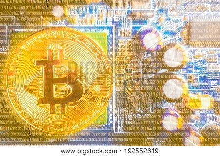 Golden bitcoin on motherboard computer background concept for crypto currency