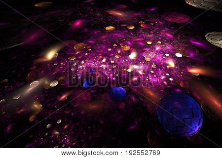 Abstract Blue, Red, Crimson And Gold Textured Bubbles On Black Background. Digital Fractal Art. 3D R
