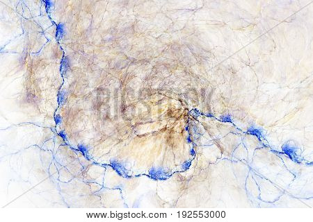 Abstract Marble Texture. Fractal Background In Blue And Beige Colors. Fantasy Digital Art. 3D Render