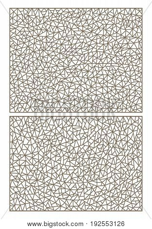 Set of abstract backgrounds contour stained glass imitation of finely broken glass