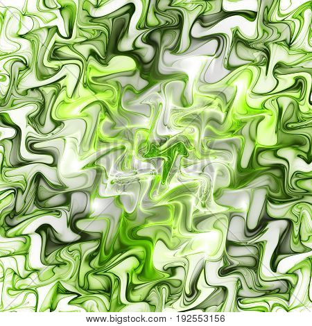 Abstract Green And Grey Waves On White Background. Psychedelic Fractal Texture. Digital Art. 3D Rend
