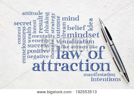 law of attraction word cloud on a white textured lokta paper