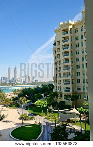 DUBAI, UAE - 5 May, 2017: View from the other shore on The Al Kazim Towers in Dubai Media.