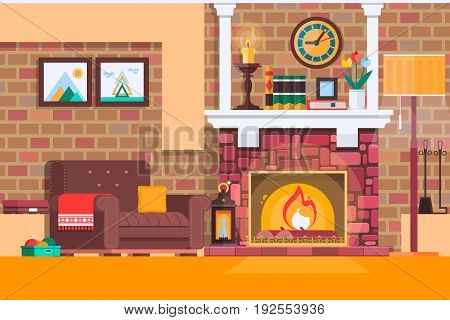 Room interior fireplace design with chair books, table, clock in evening tea time, fireplace. Flat style vector illustration
