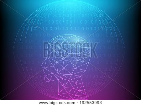 Abstract digital and technology background. Artificial Intelligence with binary code.