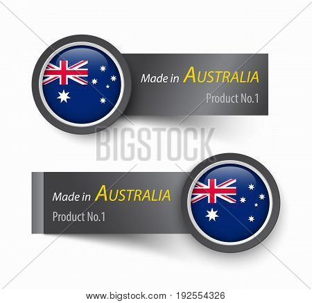 Flag icon and label with text made in Australia .