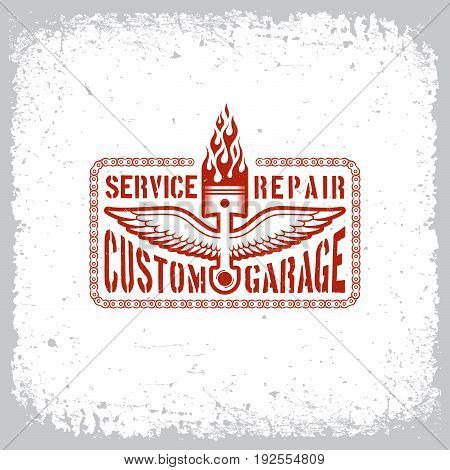 Vintage label with flaming piston and wings on grunge background for t-shirt print, poster, emblem. Vector illustration.