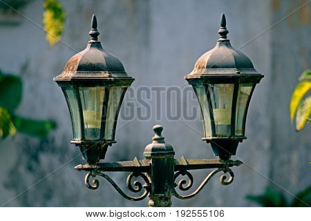 Lamp Post, old fashioned, designed lamp post on street