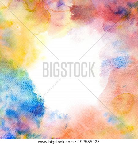 Watercolor brush stroke frame border painting on paper. Artistic abstract background.