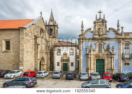 GUIMARAES,PORTUGAL - MAY 14,2017 - Azulejo decorated church Ordem de Sao Francisco in Guimaraes. The city Guimaraes was settled in the 9th century at which time it was called Vimaranes.
