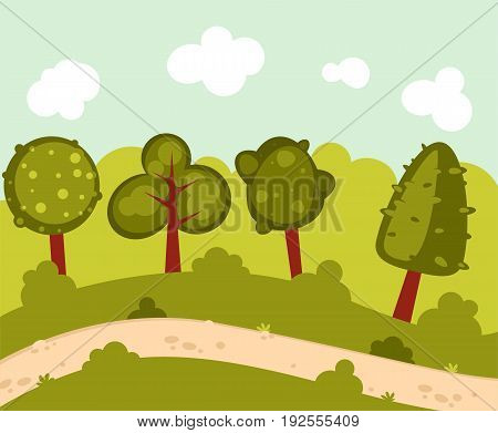 Illustration of  forest landscape with a path