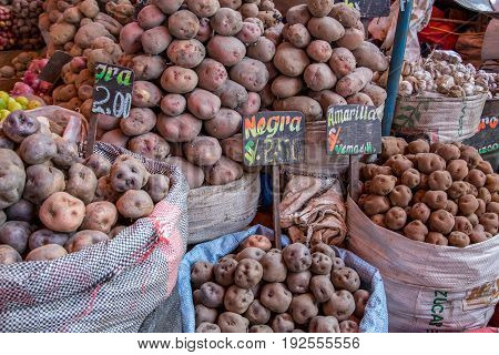 Arequipa, Peru - October 20, 2015: Bags of peruvian potatoes at San Camillo market