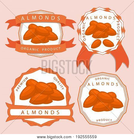 Abstract vector illustration logo whole ripe brown almond nut, cut sliced, product brazil background.