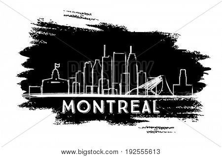 Montreal Skyline Silhouette. Hand Drawn Sketch. Business Travel and Tourism Concept with Modern Architecture. Image for Presentation Banner Placard and Web Site.
