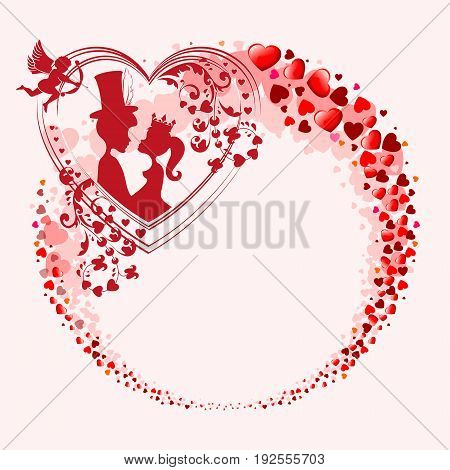 Red design from the silhouettes of the heart in the form of a circle, with the outline of two lovers, a Prince and Princess