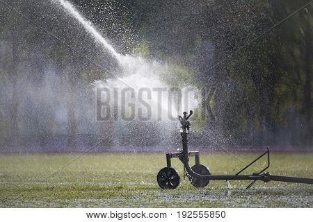 Sprinkler head watering the grass in sport field.