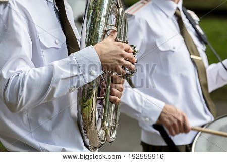 Musician Of Military Orchestra Playing Tuba During Brass Bands Festival