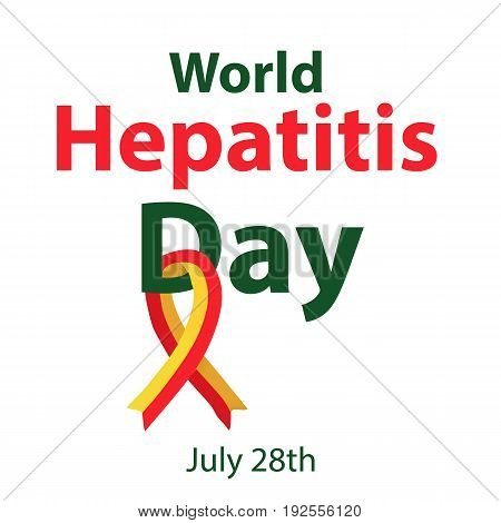 World Hepatitis Day. July 28th. Liver. Red yellow ribbon. Hepatitis C virus. Infographics. Vector illustration on isolated background