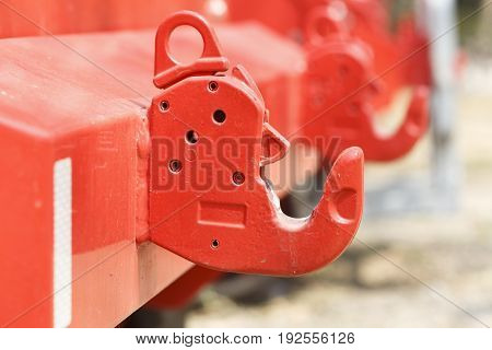 tow hook of firefighter truck for support other accessories.